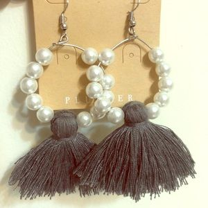 Pearl hoops with gray fringe